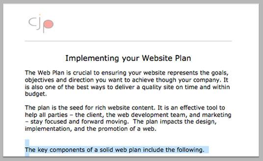 Website Plan Template - c j pepper